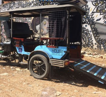 Mobilituk is a wheelchair accessible tuk-tuk in Cambodia.
