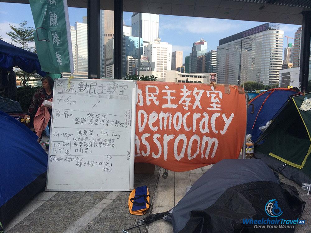 PHOTO DESCRIPTION: Umbrella Movement Democracy Classroom in Hong Kong.
