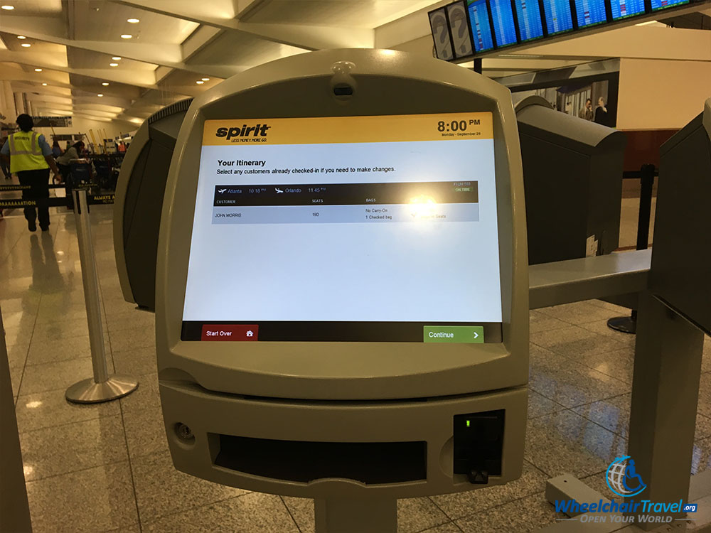 PHOTO: Spirit Airlines automated check-in kiosk.