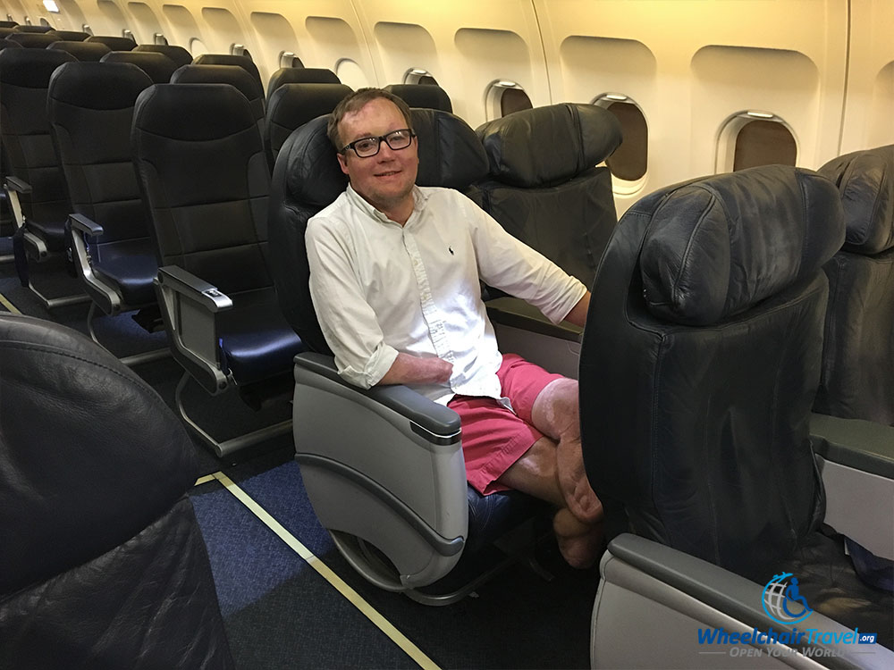 PHOTO: John Morris seated in a Spirit Airlines Big Front Seat.