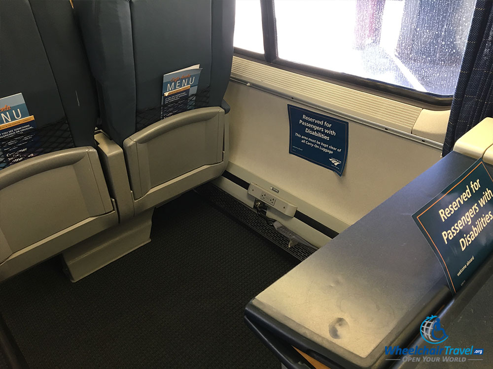 Power outlets on Acela train.