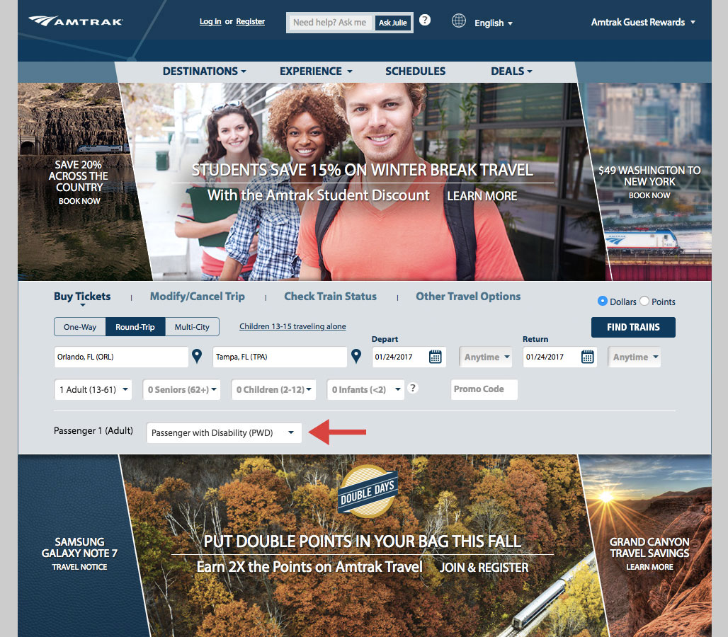 Amtrak.com Homepage.