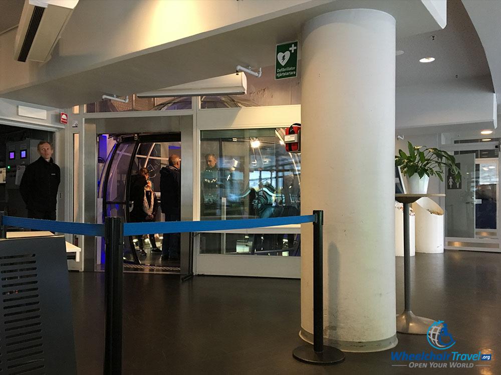 Boarding the SkyView Stockholm capsule.