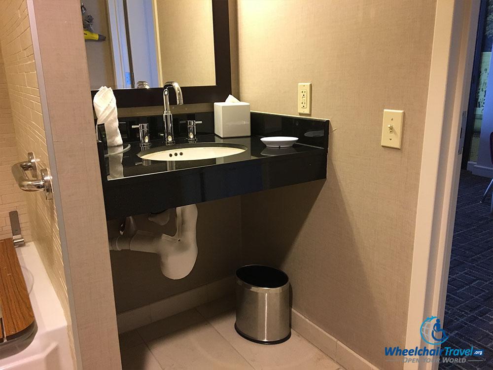 Bathroom sink at Hyatt Centric Arlington hotel