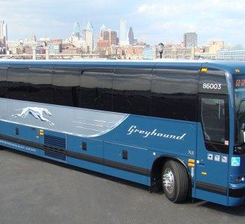Stock photo of Greyhound bus
