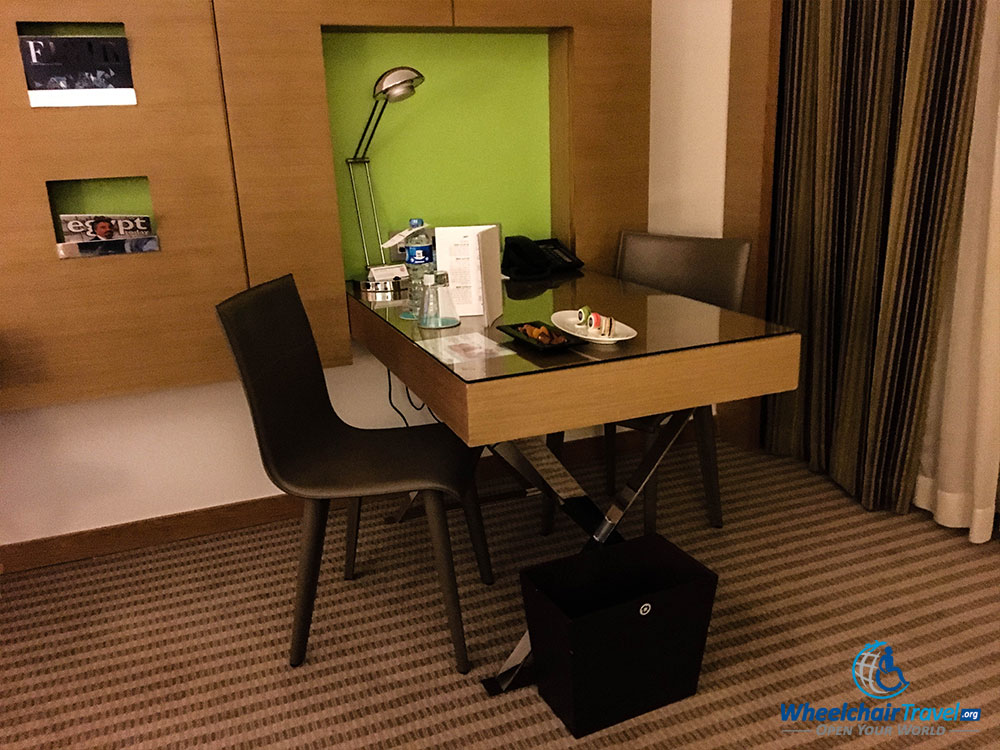 Wheelchair accessible desk with two chairs