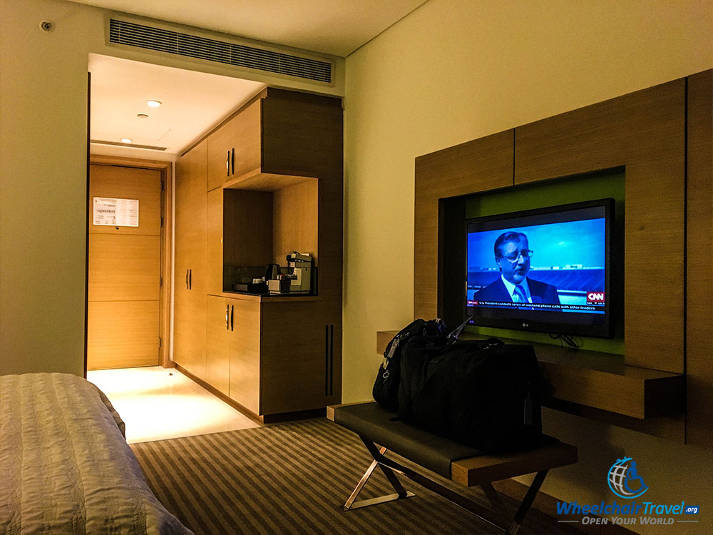 Flat screen television and hotel room interior