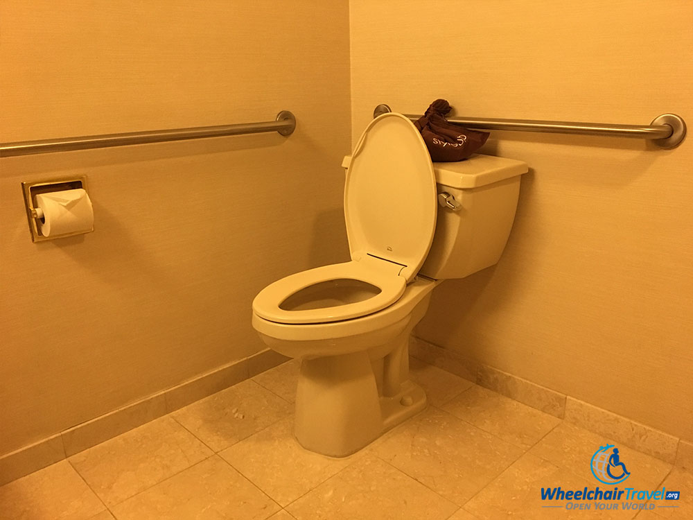 ADA accessible toilet with grab bars