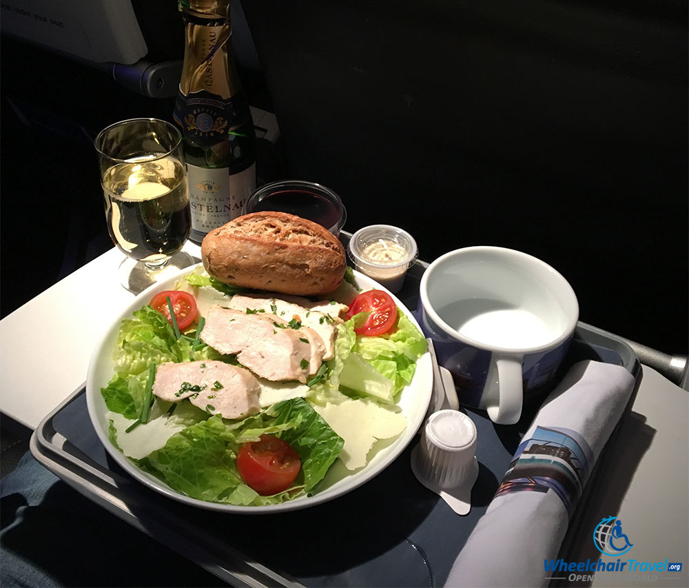 Dinner meal in Club Europe business class