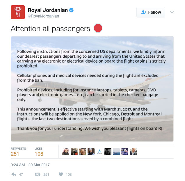 Tweet from Royal Jordanian airline