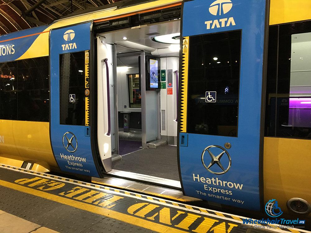 Wheelchair accessible boarding door on Heathrow Express train