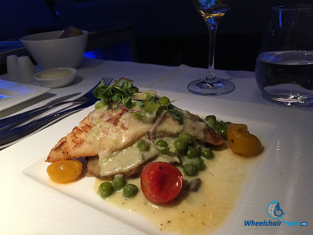 Dinner meal in Qatar business class