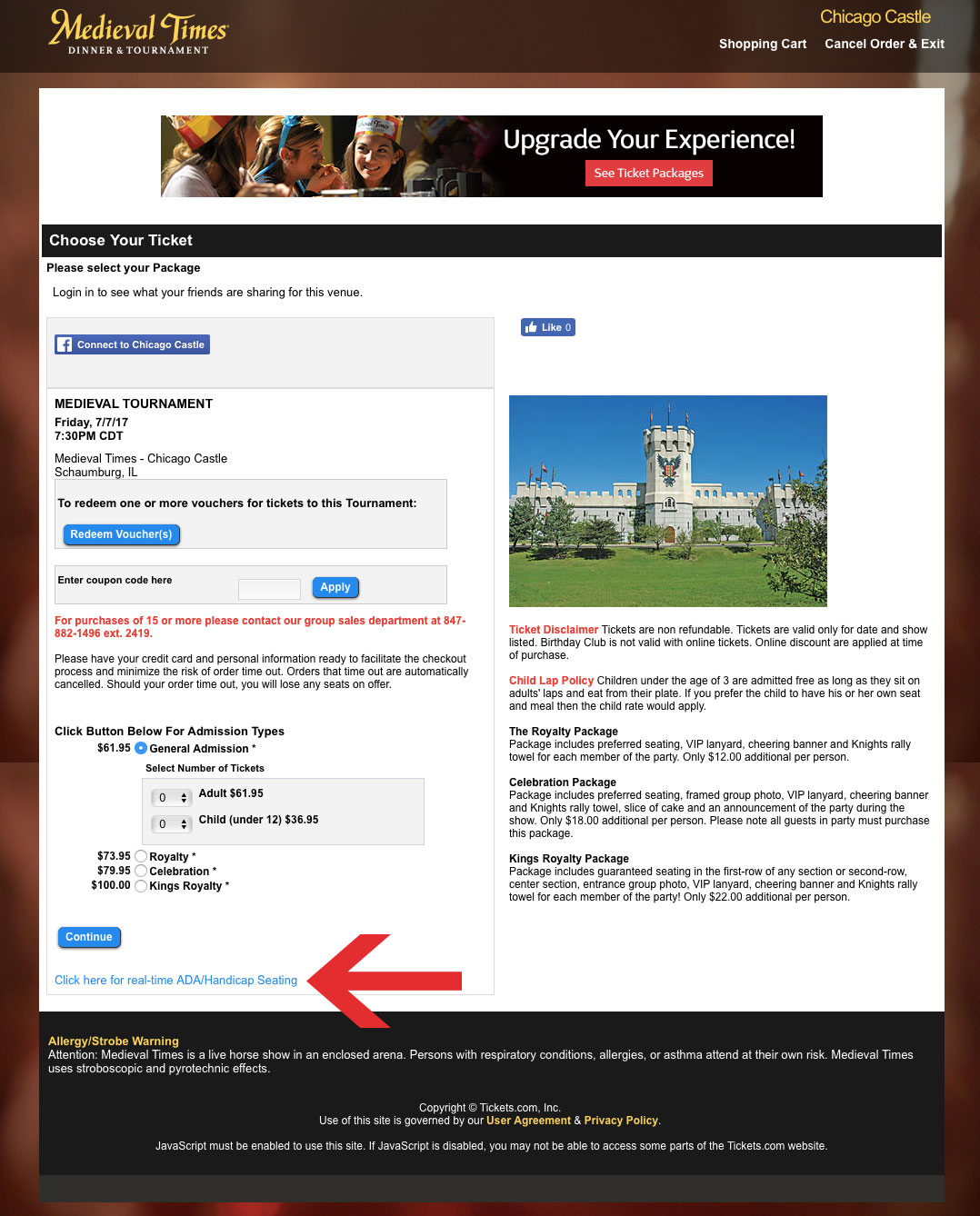 Screenshot of the Medieval Times website ticketing portal.