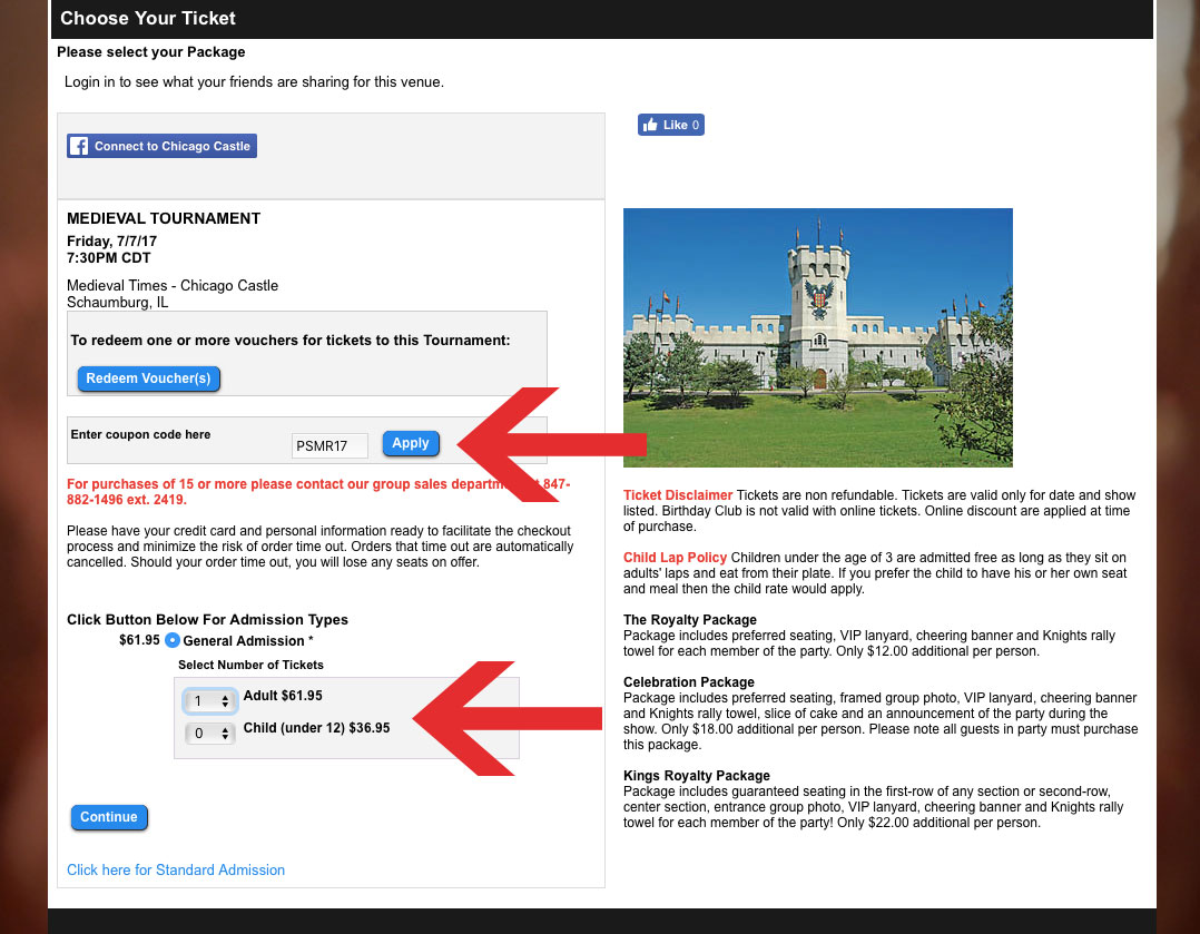 Screenshot of the Medieval Times website ADA/Handicap/Wheelchair ticketing portal.