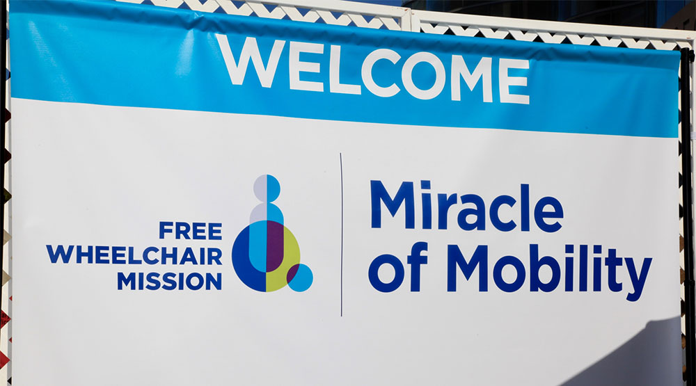 Free Wheelchair Mission - Miracle of Mobility sign