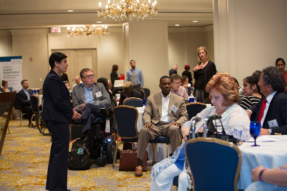 Acting TSA Administrator, Dr. Huban Gowadia, answering questions at Disability Coalition Conference.