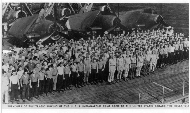 Surviving crew of the USS Indianapolis, pictured returning to the United States aboard the USS Hollandia.