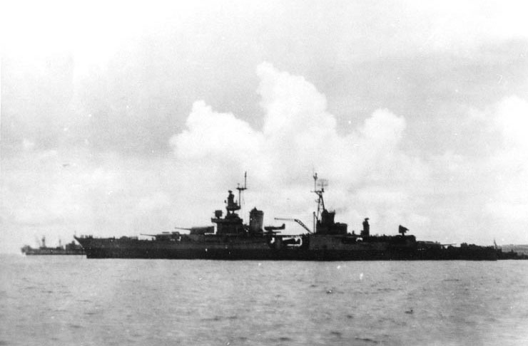 Last known photo of the USS Indianapolis, taken at Tinian, circa July 26, 1945.