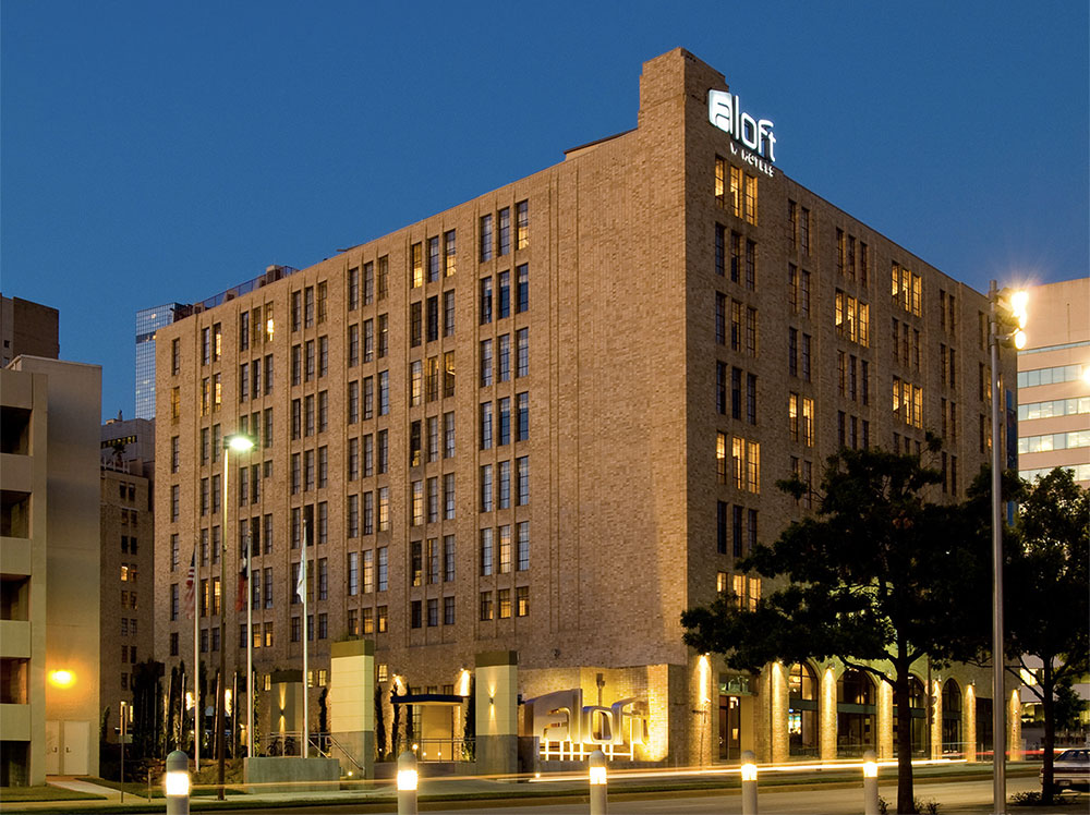 Exterior view of the Aloft Dallas Downtown Hotel.