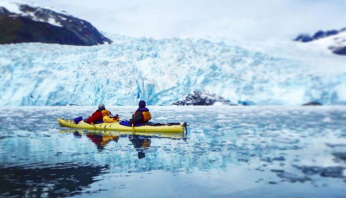 Wheelchair user kayaking in Alaska