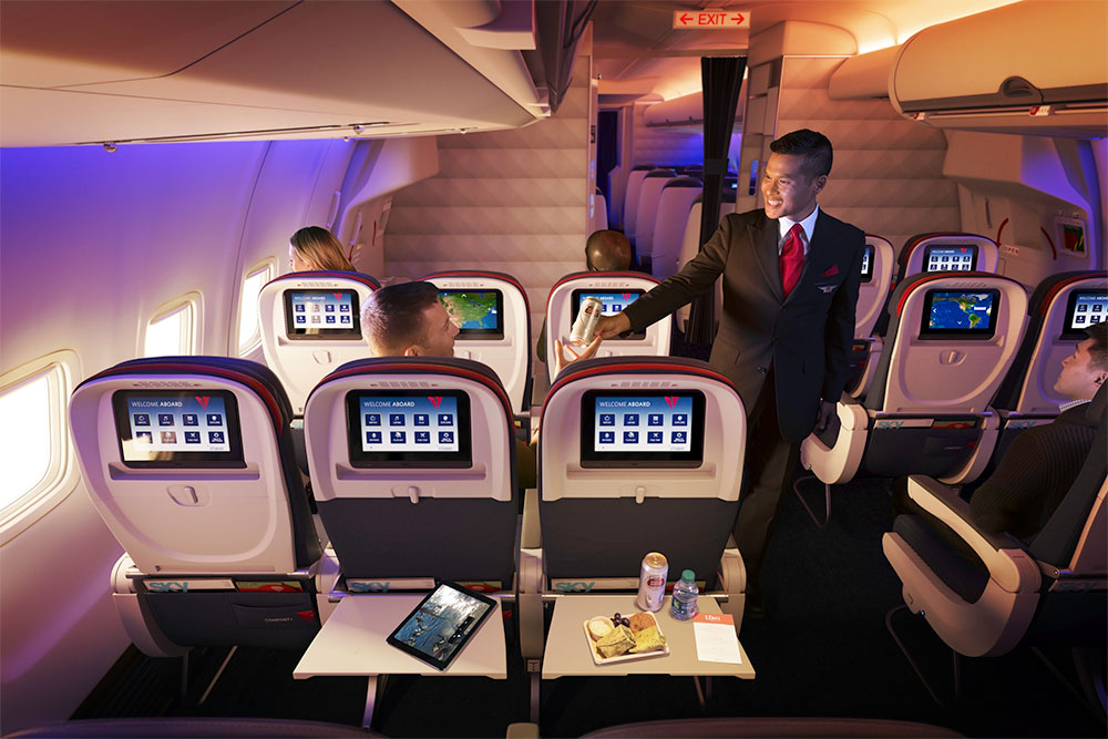 On many Delta planes, bulkhead seats are part of Comfort+. | Photo courtesy Delta Air Lines.