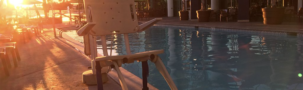 Self-operating pool lift for use by people with disabilities.