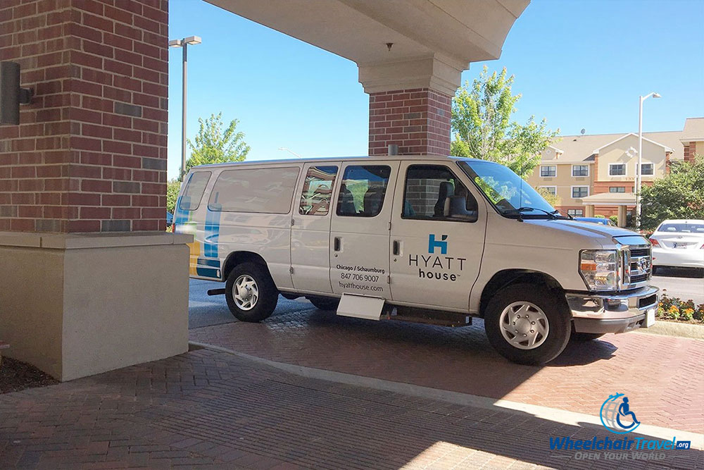 Hotel shuttle that is not wheelchair accessible.