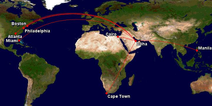 2017 Qatar Airways flight map.