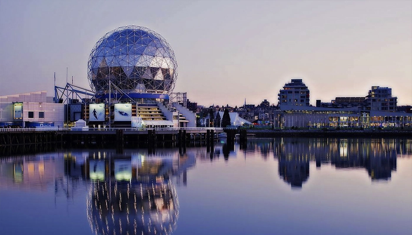 Science World at sunset in Vancouver, Canada.