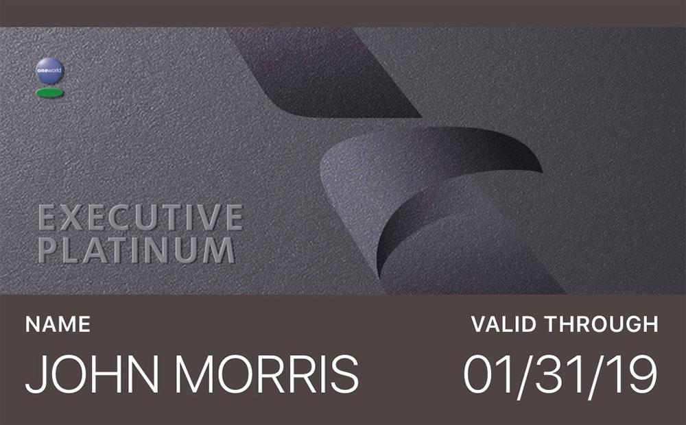 AAdvantage Executive Platinum electronic membership card.