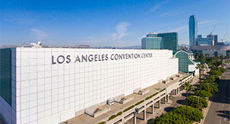Exterior photo of Los Angeles Convention Center.