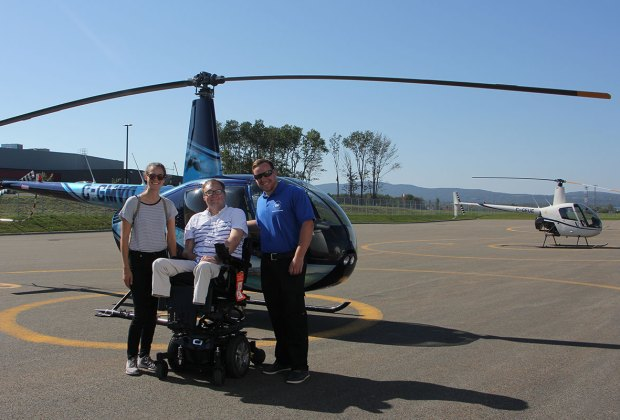 Preparing to enjoy a wheelchair accessible Helicopter ride in Quebec City, Canada.