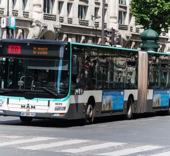 City buses in Paris, France serve people regardless of ability.