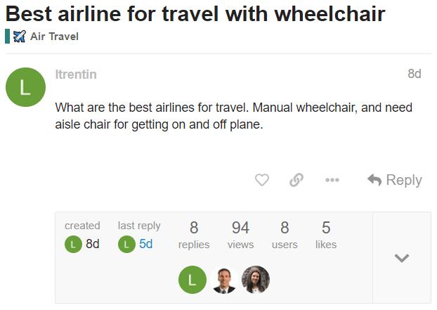 Screenshot of accessibleGO Travel Forum post.