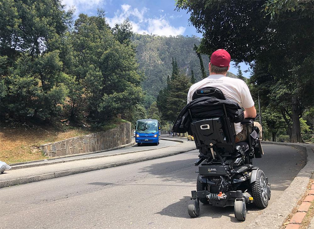 Wheelchair in street near Monserrate Hill.