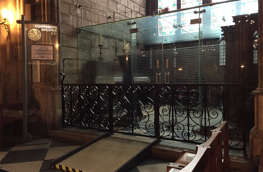 Wheelchair accessible confessional at Notre-Dame Cathedral.