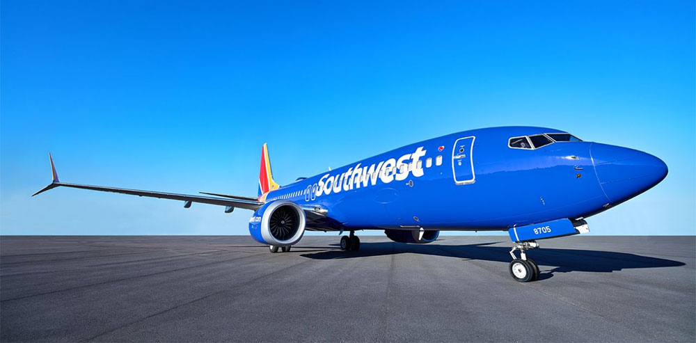 Southwest Airlines aircraft parked on tarmac.