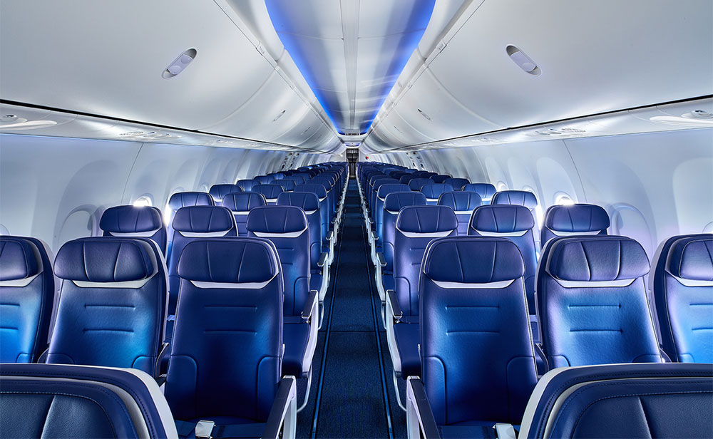 Interior of Southwest Airlines aircraft.