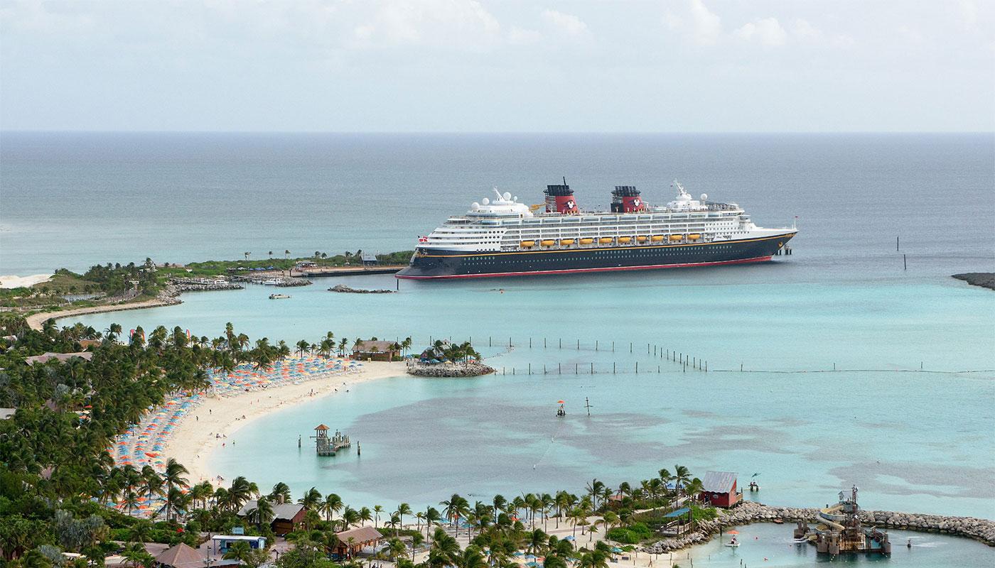 Disney Cruise Line ship at Castaway Cay in the Bahamas.
