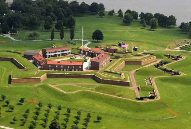 Aerial photograph of Fort McHenry, with its distinctive star shape outline.