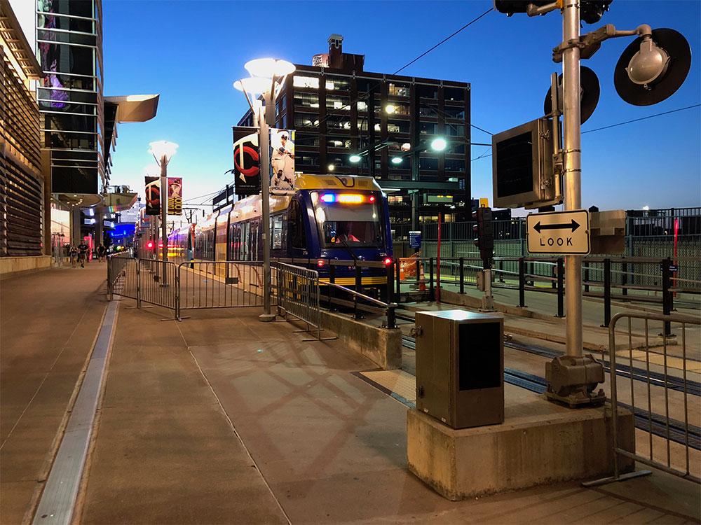 Light rail station at Minnesota Twins ballpark.