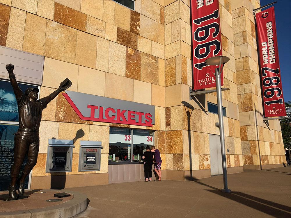 Ticket windows at Minnesota Twins ballpark.
