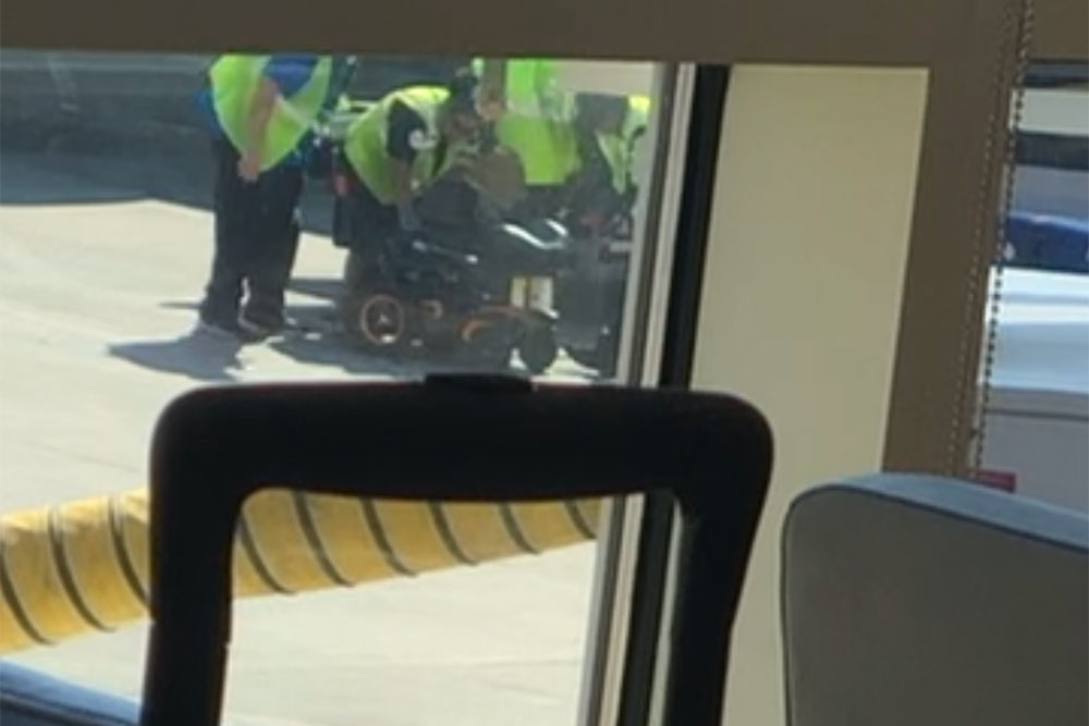 Wheelchair on ramp after arrival to IAH.