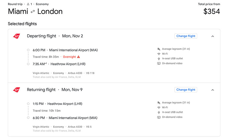 Round trip airfare from Miami to London.