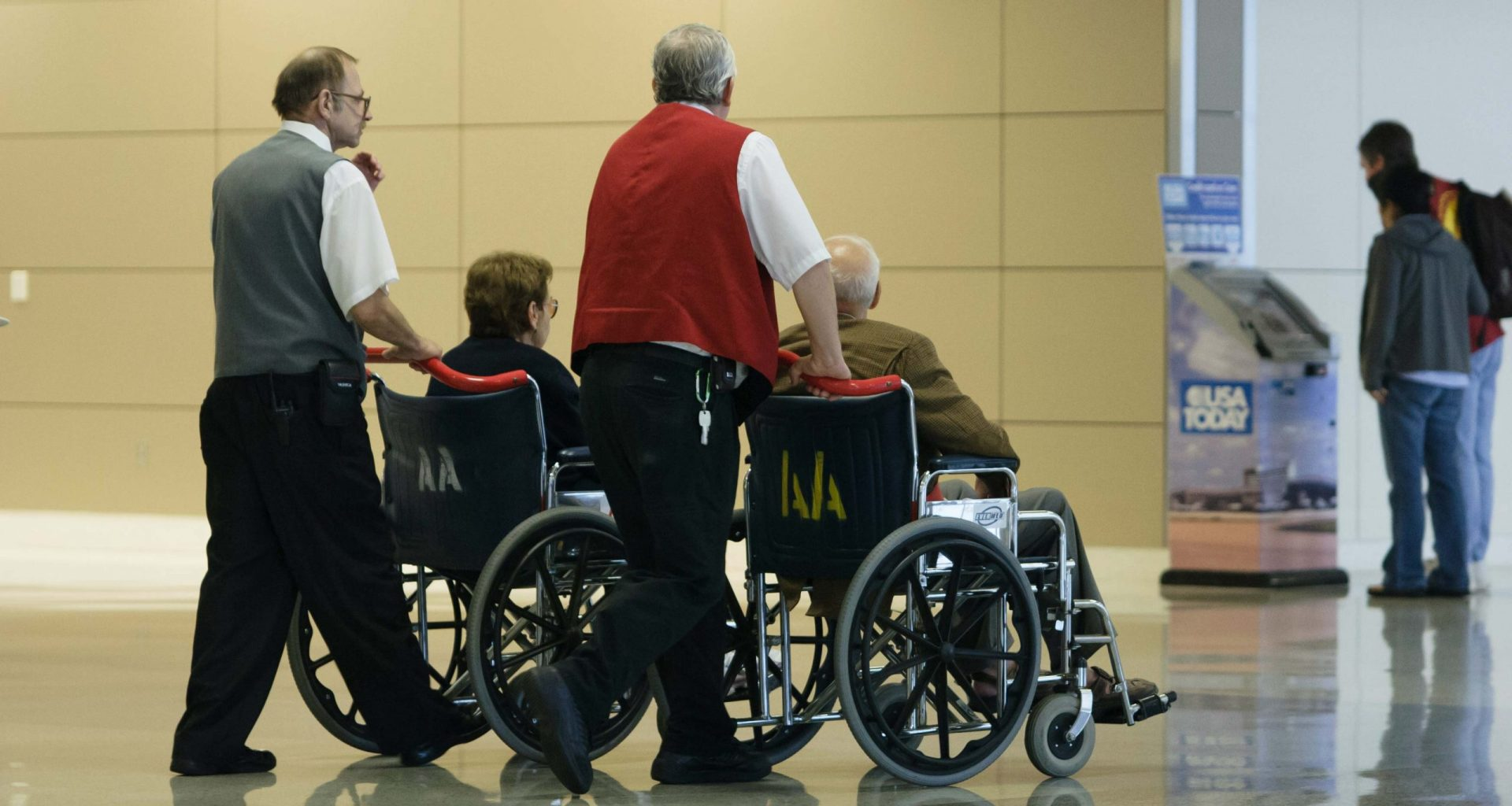 Wheelchair assistance at the airport.