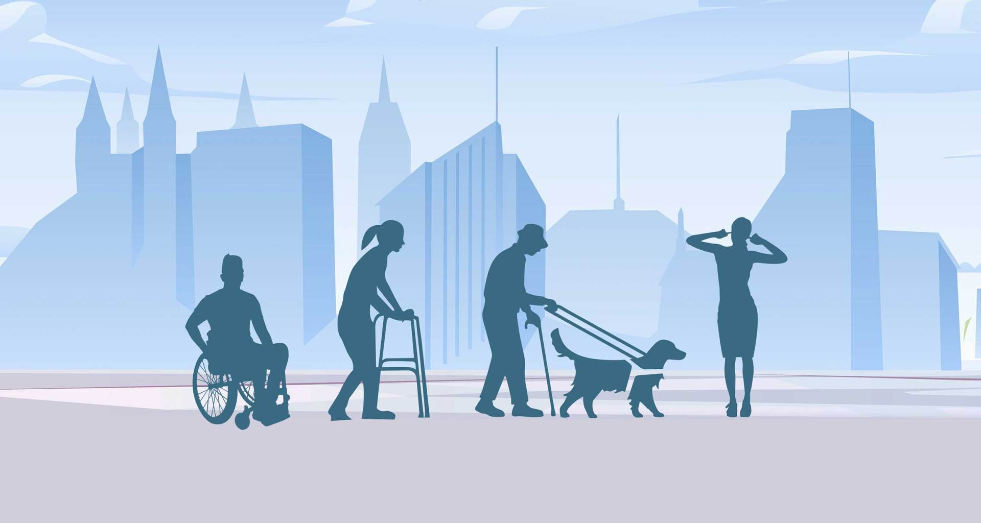 Illustration of disabled people - man in wheelchair, woman with walker, man with service dog, deaf woman pointing to her ears, walking in front of a city skyline.