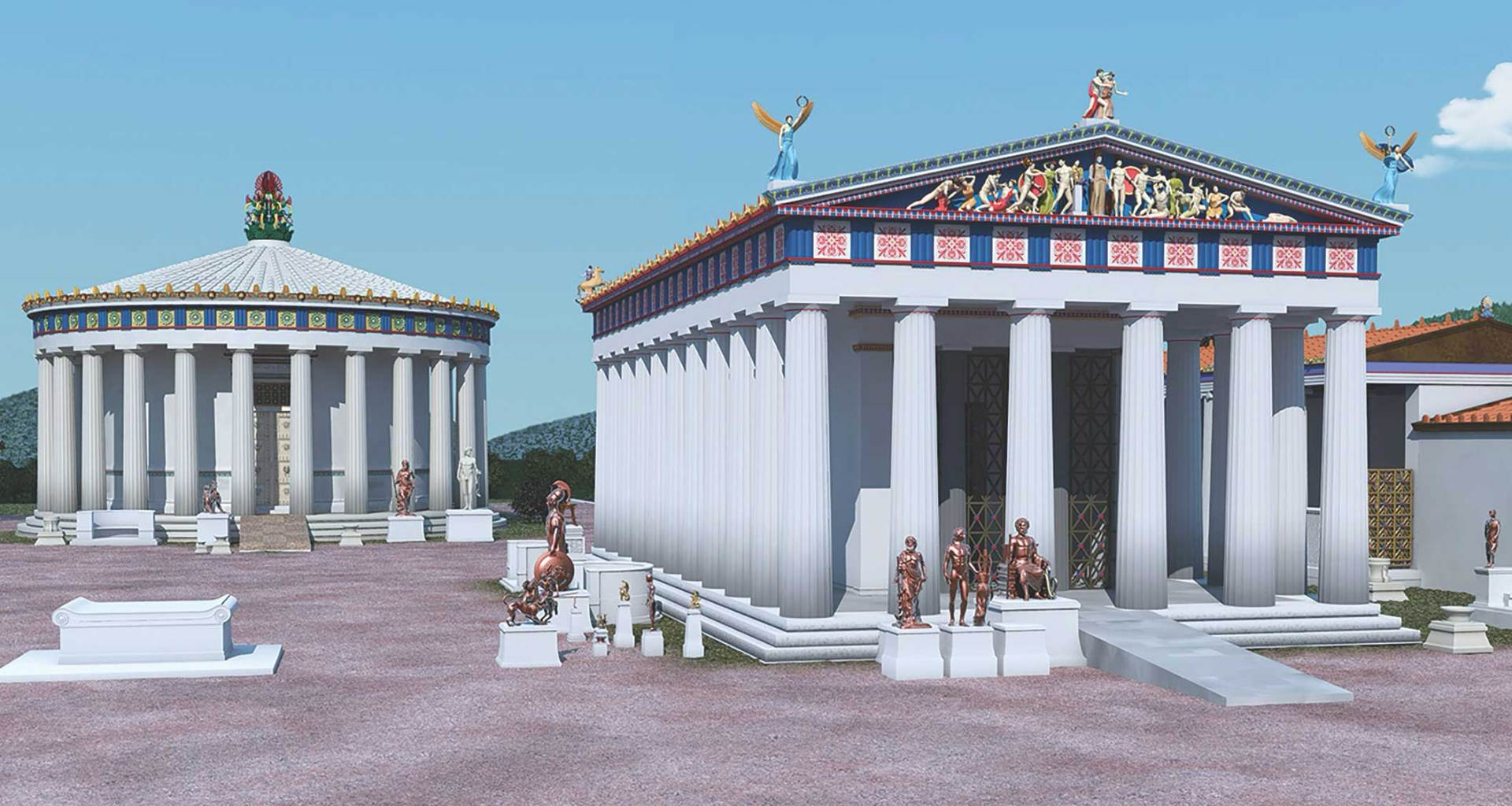 Illustration of ramps leading into temples of Ancient Greece.