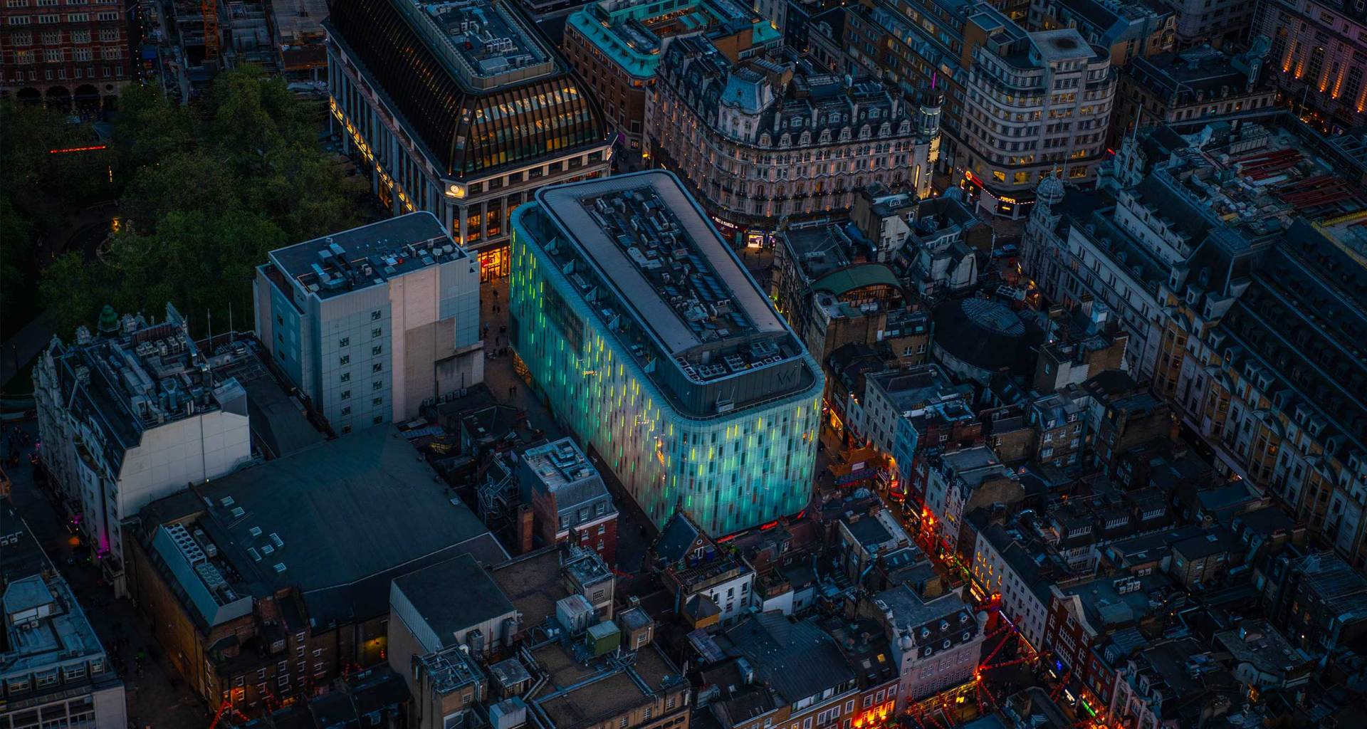Aerial view of the W London Hotel and Leicester Square.