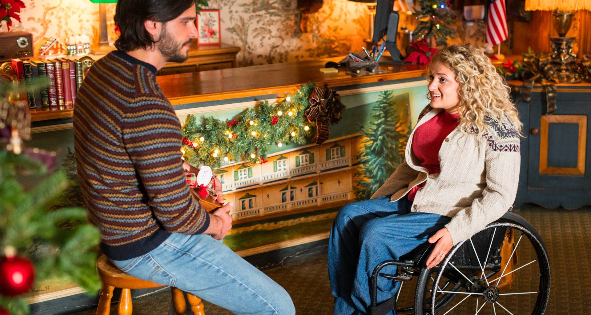 Ali Stroker and Daniel di Tomasso star in Christmas Ever After movie.