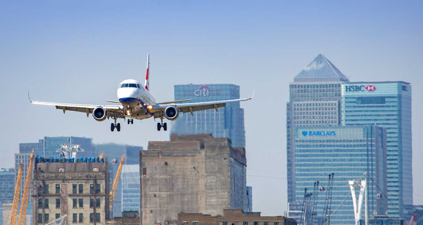 Airplane landing at London airport.